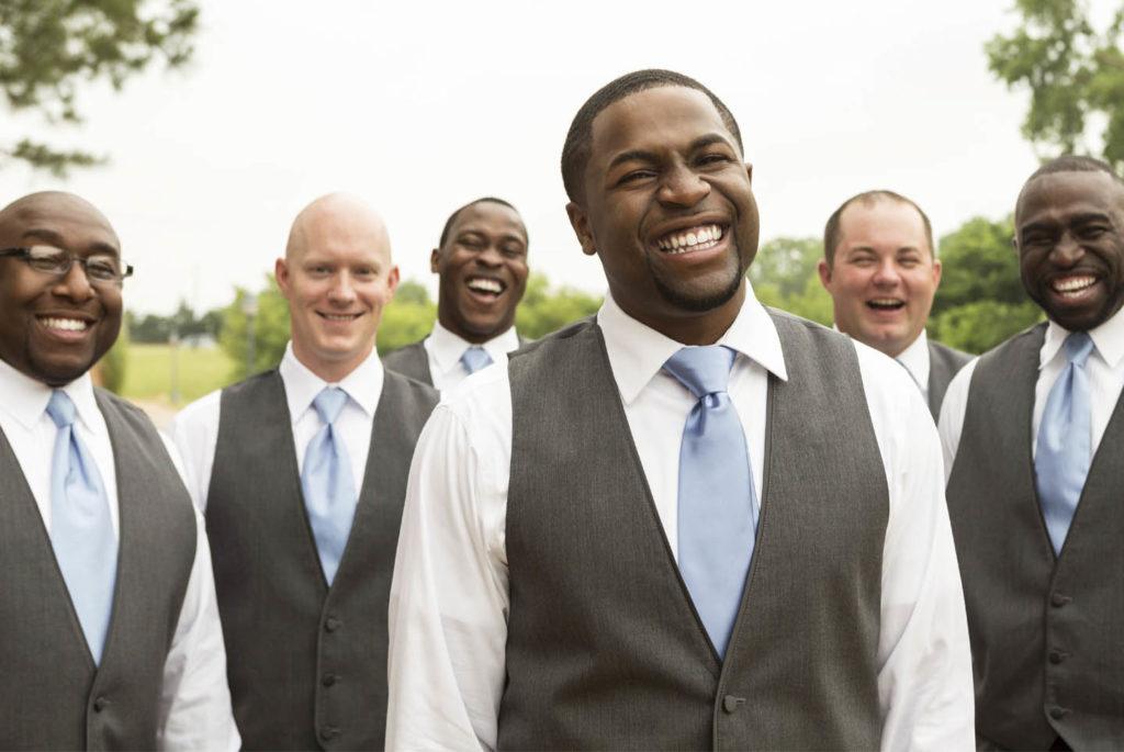 5 groomsmen smiling upper body